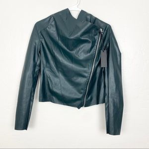 Blank NYC   Green Faux Leather Drop Front Jacket
